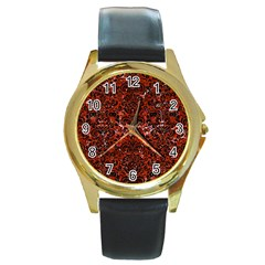 Damask2 Black Marble & Red Marble (r) Round Gold Metal Watch by trendistuff
