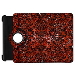 Damask2 Black Marble & Red Marble (r) Kindle Fire Hd Flip 360 Case by trendistuff
