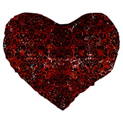 Damask2 Black Marble & Red Marble (r) Large 19  Premium Flano Heart Shape Cushion by trendistuff