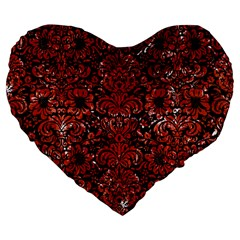 Damask2 Black Marble & Red Marble Large 19  Premium Flano Heart Shape Cushion by trendistuff