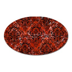 Damask1 Black Marble & Red Marble (r) Magnet (oval) by trendistuff