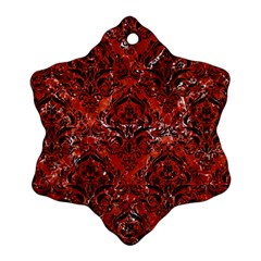 Damask1 Black Marble & Red Marble (r) Ornament (snowflake) by trendistuff