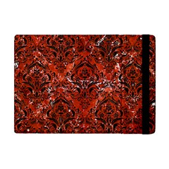 Damask1 Black Marble & Red Marble (r) Apple Ipad Mini Flip Case by trendistuff