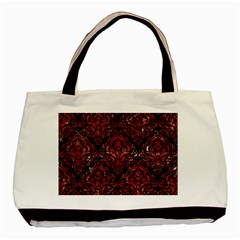 Damask1 Black Marble & Red Marble Basic Tote Bag (two Sides) by trendistuff