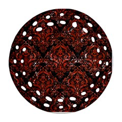 Damask1 Black Marble & Red Marble Round Filigree Ornament (two Sides) by trendistuff