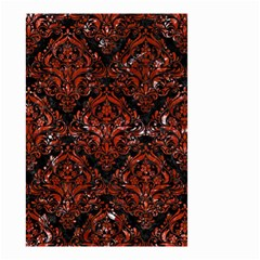 Damask1 Black Marble & Red Marble Small Garden Flag (two Sides) by trendistuff