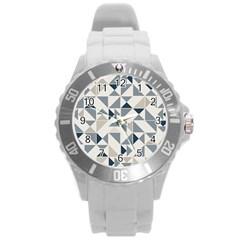 Geometric Triangle Modern Mosaic Round Plastic Sport Watch (l) by Amaryn4rt