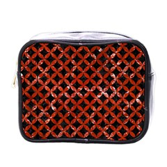 Circles3 Black Marble & Red Marble Mini Toiletries Bag (one Side) by trendistuff