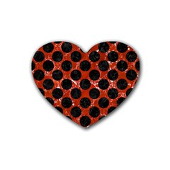 Circles2 Black Marble & Red Marble (r) Rubber Coaster (heart) by trendistuff