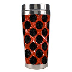 Circles2 Black Marble & Red Marble (r) Stainless Steel Travel Tumbler by trendistuff