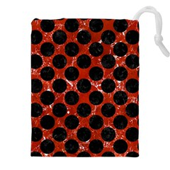Circles2 Black Marble & Red Marble (r) Drawstring Pouch (xxl) by trendistuff