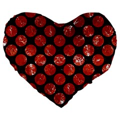 Circles2 Black Marble & Red Marble Large 19  Premium Flano Heart Shape Cushion by trendistuff
