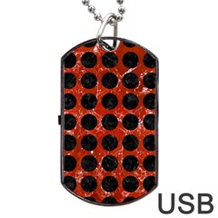Circles1 Black Marble & Red Marble (r) Dog Tag Usb Flash (one Side) by trendistuff