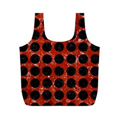 Circles1 Black Marble & Red Marble (r) Full Print Recycle Bag (m) by trendistuff