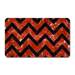 Chevron9 Black Marble & Red Marble (r) Magnet (rectangular) by trendistuff