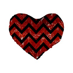 Chevron9 Black Marble & Red Marble (r) Standard 16  Premium Heart Shape Cushion  by trendistuff