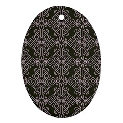 Line Geometry Pattern Geometric Oval Ornament (two Sides) by Amaryn4rt