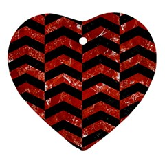 Chevron2 Black Marble & Red Marble Ornament (heart) by trendistuff