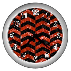 Chevron2 Black Marble & Red Marble Wall Clock (silver) by trendistuff