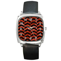 Chevron2 Black Marble & Red Marble Square Metal Watch by trendistuff
