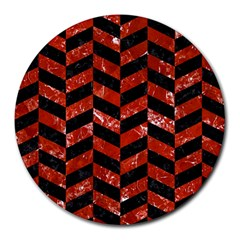 Chevron1 Black Marble & Red Marble Round Mousepad by trendistuff