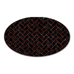 Brick2 Black Marble & Red Marble Magnet (oval) by trendistuff