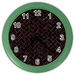 Brick2 Black Marble & Red Marble Color Wall Clock by trendistuff