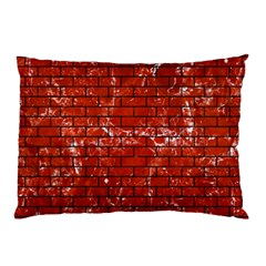 Brick1 Black Marble & Red Marble (r) Pillow Case by trendistuff