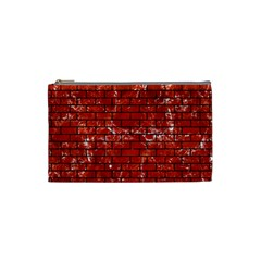 Brick1 Black Marble & Red Marble (r) Cosmetic Bag (small) by trendistuff