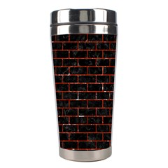 Brick1 Black Marble & Red Marble Stainless Steel Travel Tumbler by trendistuff