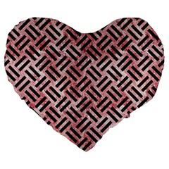 Woven2 Black Marble & Red & White Marble (r) Large 19  Premium Heart Shape Cushion by trendistuff