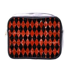 Diamond1 Black Marble & Red Marble Mini Toiletries Bag (one Side) by trendistuff
