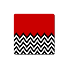 Chevron Red Square Magnet by Jojostore