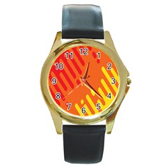 Color Minimalism Red Yellow Round Gold Metal Watch by Jojostore