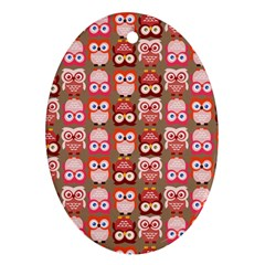 Eye Owl Colorfull Pink Orange Brown Copy Oval Ornament (two Sides) by Jojostore