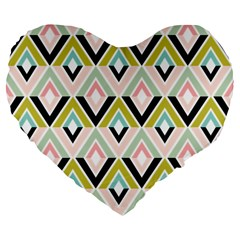 Chevron Pink Green Copy Large 19  Premium Flano Heart Shape Cushions by Jojostore