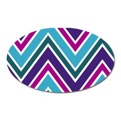 Fetching Chevron White Blue Purple Green Colors Combinations Cream Pink Pretty Peach Gray Glitter Re Oval Magnet by Jojostore