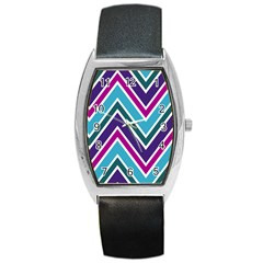 Fetching Chevron White Blue Purple Green Colors Combinations Cream Pink Pretty Peach Gray Glitter Re Barrel Style Metal Watch by Jojostore