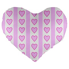 Heart Pink Valentine Day Large 19  Premium Flano Heart Shape Cushions by Jojostore