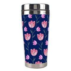 Flower Tulip Floral Pink Blue Stainless Steel Travel Tumblers by Jojostore