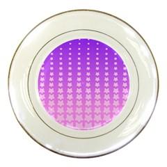 Purple And Pink Stars Line Porcelain Plates by Jojostore