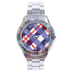 Red And Purple Plaid Stainless Steel Analogue Watch by Jojostore