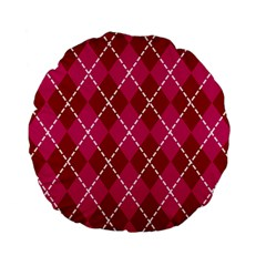 Texture Background Argyle Pink Red Standard 15  Premium Flano Round Cushions by Jojostore