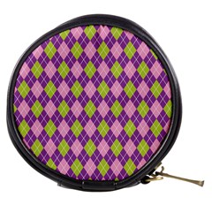 Purple Green Argyle Background Mini Makeup Bags by Jojostore
