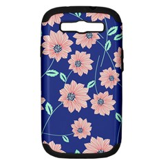 Seamless Blue Floral Samsung Galaxy S Iii Hardshell Case (pc+silicone) by Jojostore