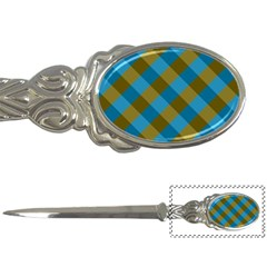 Plaid Line Brown Blue Box Letter Openers by Jojostore