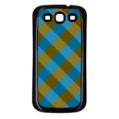 Plaid Line Brown Blue Box Samsung Galaxy S3 Back Case (black) by Jojostore