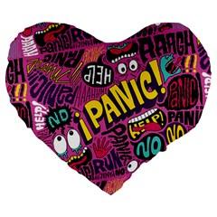 Panic Pattern Large 19  Premium Heart Shape Cushions by Jojostore