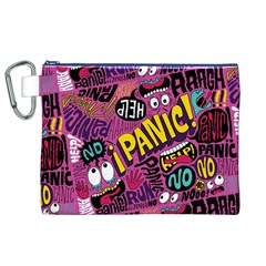 Panic Pattern Canvas Cosmetic Bag (xl) by Jojostore