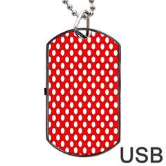 Red Circular Pattern Dog Tag Usb Flash (two Sides)  by Jojostore